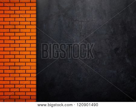 concrete wall with brick template