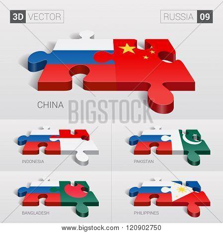 Russia Flag. 3d vector puzzle. Set 09.