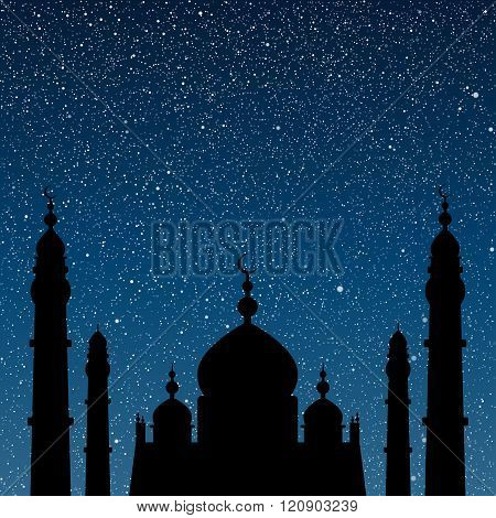 Silhouette of a mosque. Starry Sky. Eps 10.