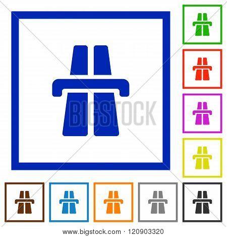 Highway Framed Flat Icons