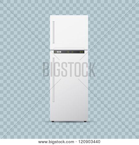 Fridge or freezer on transparent background.. Editable realistic vector illustration.