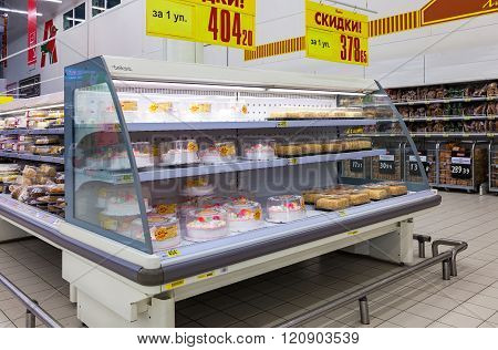 Showcase With Sweet Cakes Ready To Sale In Hypermarket Auchan