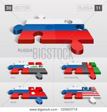 Russia Flag. 3d vector puzzle. Set 11.