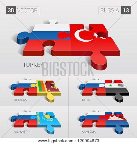 Russia Flag. 3d vector puzzle. Set 13.