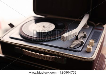 Vintage Player Of Vinyl Records