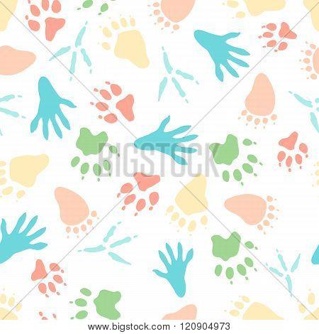 Seamless pattern of animal tracks