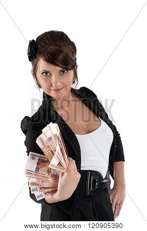 Beautiful lady with cash