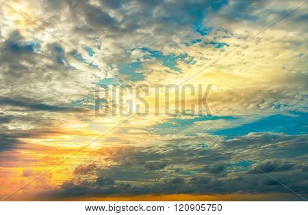 Beautiful Sunset, Light Majestic Clouds