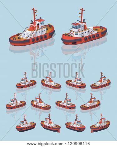 Low poly red and white tugboat