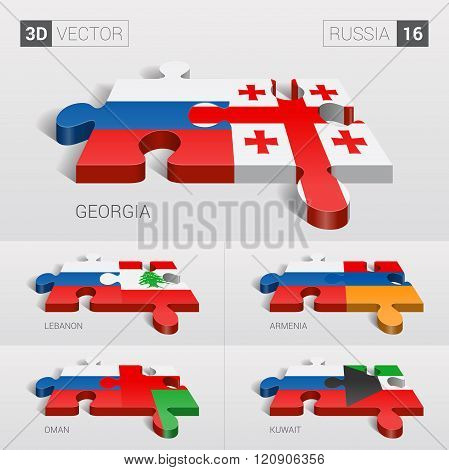 Russia Flag. 3d vector puzzle. Set 16.