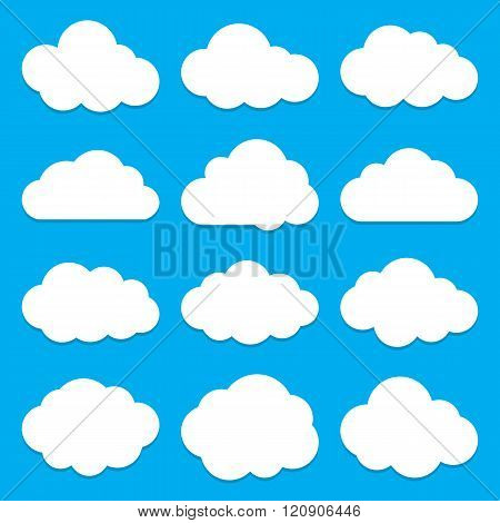 Cloud shapes flat icons set. Cloud symbols. Collection of cloud pictograms. Vector icons of a clouds in flat style. EPS8 vector illustration.