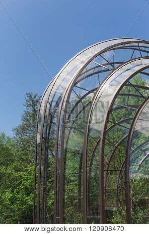 averstoke Mill, England - May 2015: A detailed photograph of the aluminium and glass structure of th