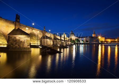 Charles Bridge at Night Prague