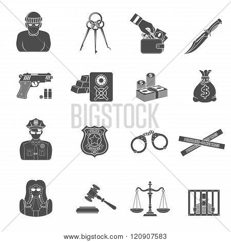 Crime and Punishment Icons Set