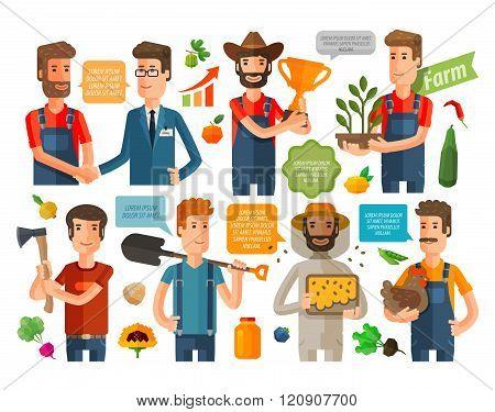 farmer, horticulturist or farming icons set. vector illustration