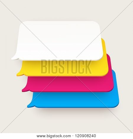 Set of vector flat speech bubbles. Plastic or paper material with perspective. Different colors: red, yellow, blue and white.