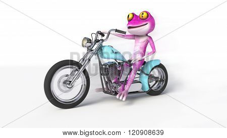 Pink Frog on Motorcycle