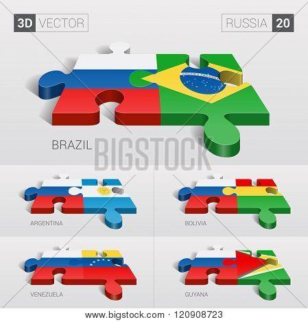 Russia Flag. 3d vector puzzle. Set 20.