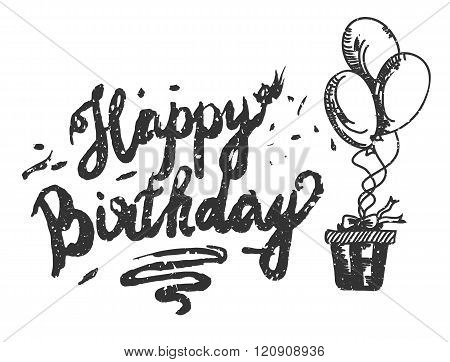 Happy Birthday Brush Script Style Hand lettering. Retro Vintage Custom Typographic Composition . Ori