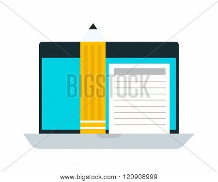 E-books computer concept vector illustration