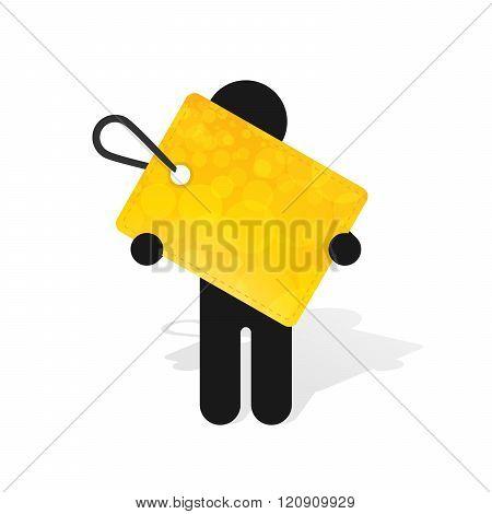 Figure Man Holds Yellow Label