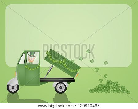 green truck with clovers for St. Patrick Day