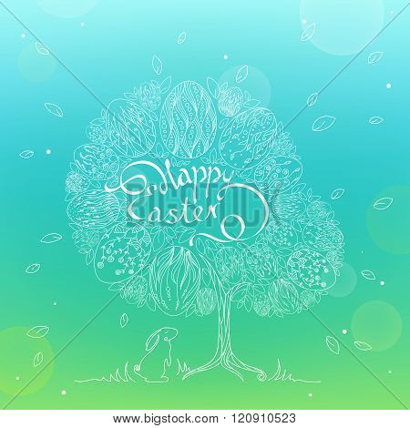 Doodle Illustration Of Easter Eggs On The Tree In The Leaves In Linear Style On Blurred Background W