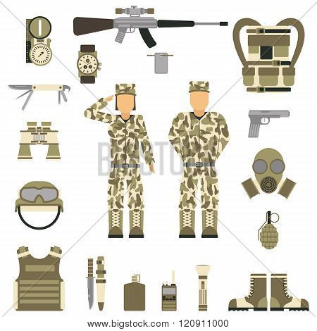 Military symbols design with weapon and uniform. vector.