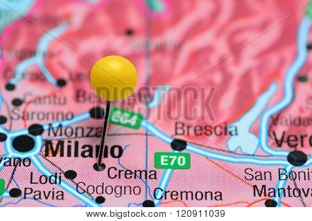 Crema pinned on a map of Italy