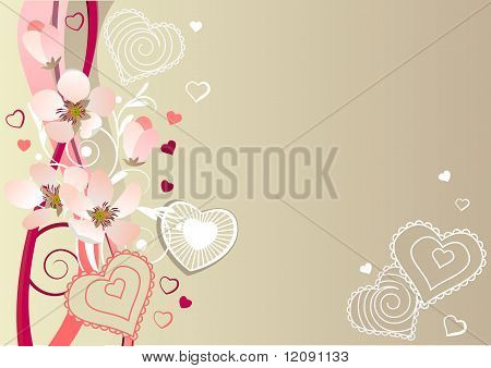 Frame with hearts and blossoming branches