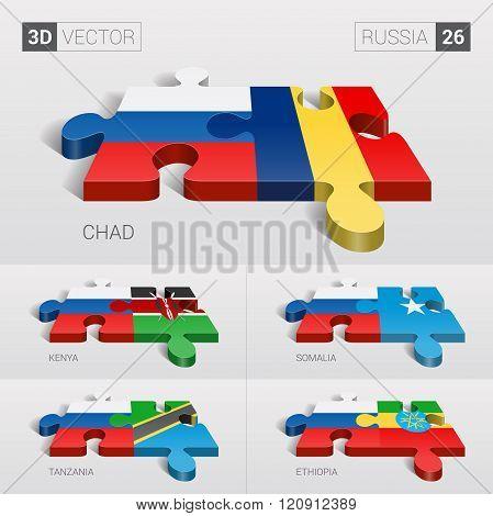 Russia Flag. 3d vector puzzle. Set 26.