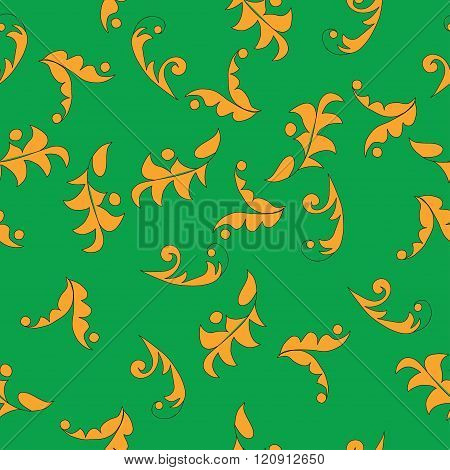 Vector seamless leafy pattern background.