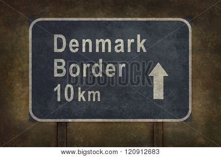 Denmark Border 10Km Roadside Sign Illustration