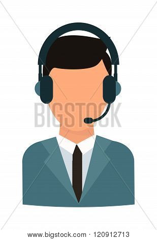 Face headphone vector illustration.