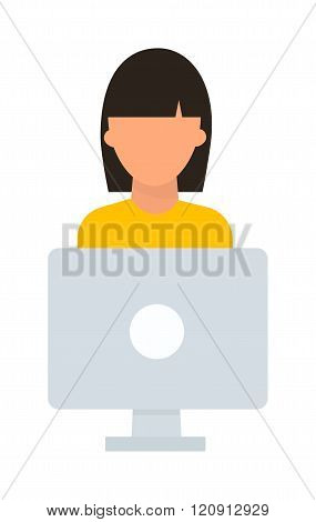 Student girl computer vector illustration.
