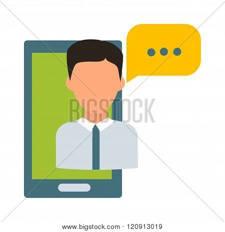 Online teacher vector illustration
