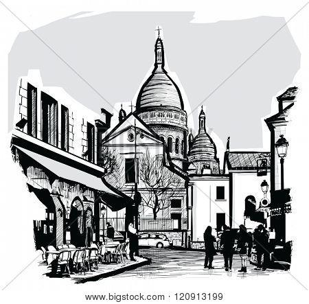 Basilica Sacre coeur in Paris - Vector illustration