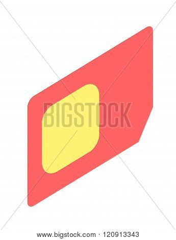 SIM card isometric vector illustration