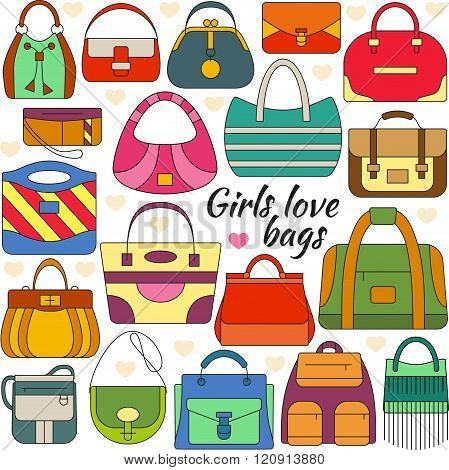 Set of line icon. Different women bags and place for your text. Colorful contour icons. Info graphic