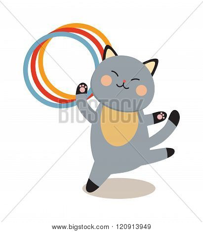 Set of cheerful circus playing cats vector illustration.