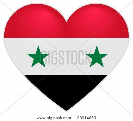 Syria Flag Heart. Syrian flag icon in shape of heart