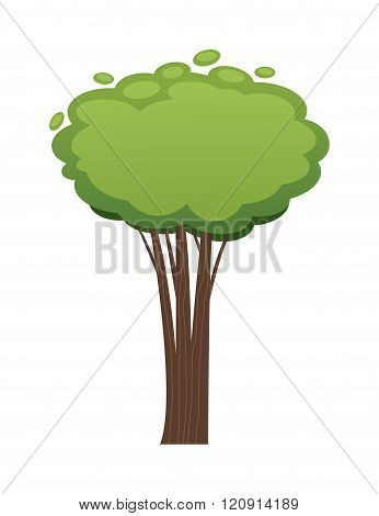 Cartoon tree vector illustration isolated on white background