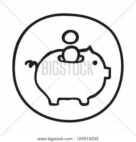 Doodle Piggy Bank icon.