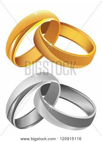 Gold & silver wedding rings vector