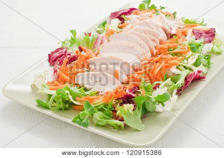 chicken breast salad with yogurt cream,italy