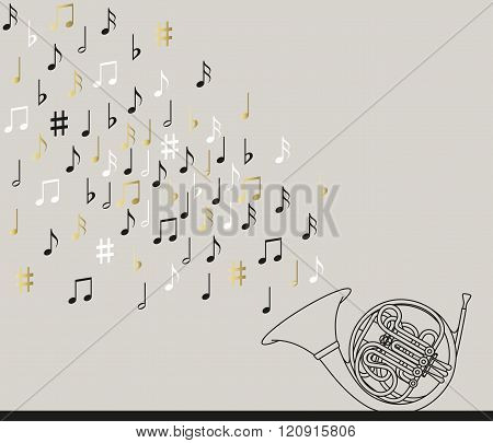 Musical concept.  French horn with notes. Abstract design. Black, gold and white colors. Vector illu