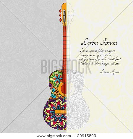 Romantic musical  background with guitar and place for your text. Pattern with flowers the back. Col