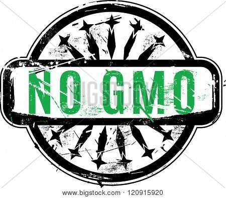 Vector No GMO or Genetically modified organism Rubber stamp with grunge texture for your design. See other rubber stamps in my portfolio.