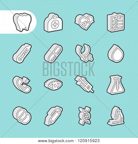 3D Fat Line Icon set for web and mobile. Modern minimalistic flat design elements of Healthcare and medical equipment