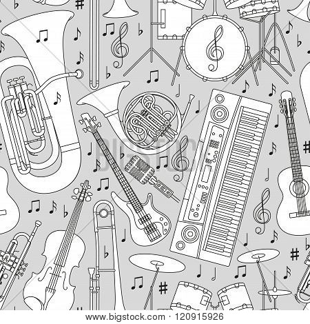 Musical seamless pattern made of different musical instruments, treble clef and notes. Black and whi